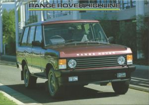 Range Rover Highline Australia Brochure cover 1-6-1988